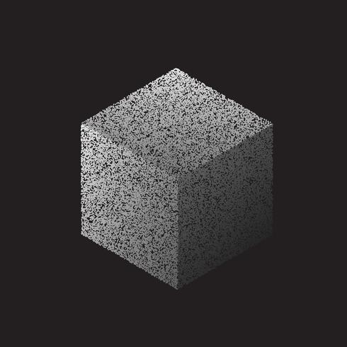3d cube made with dots