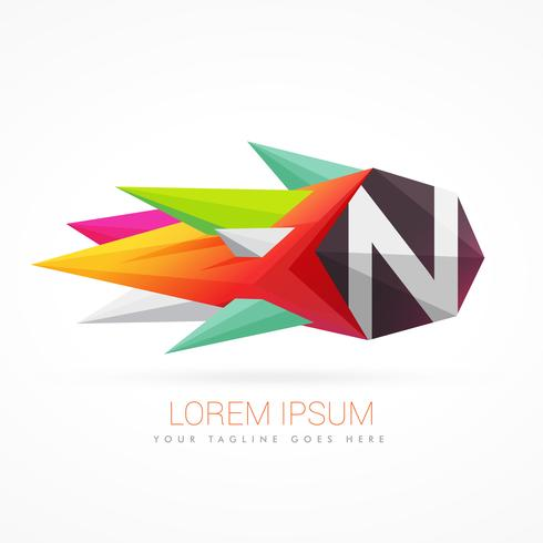 colorful abstract logo with letter N