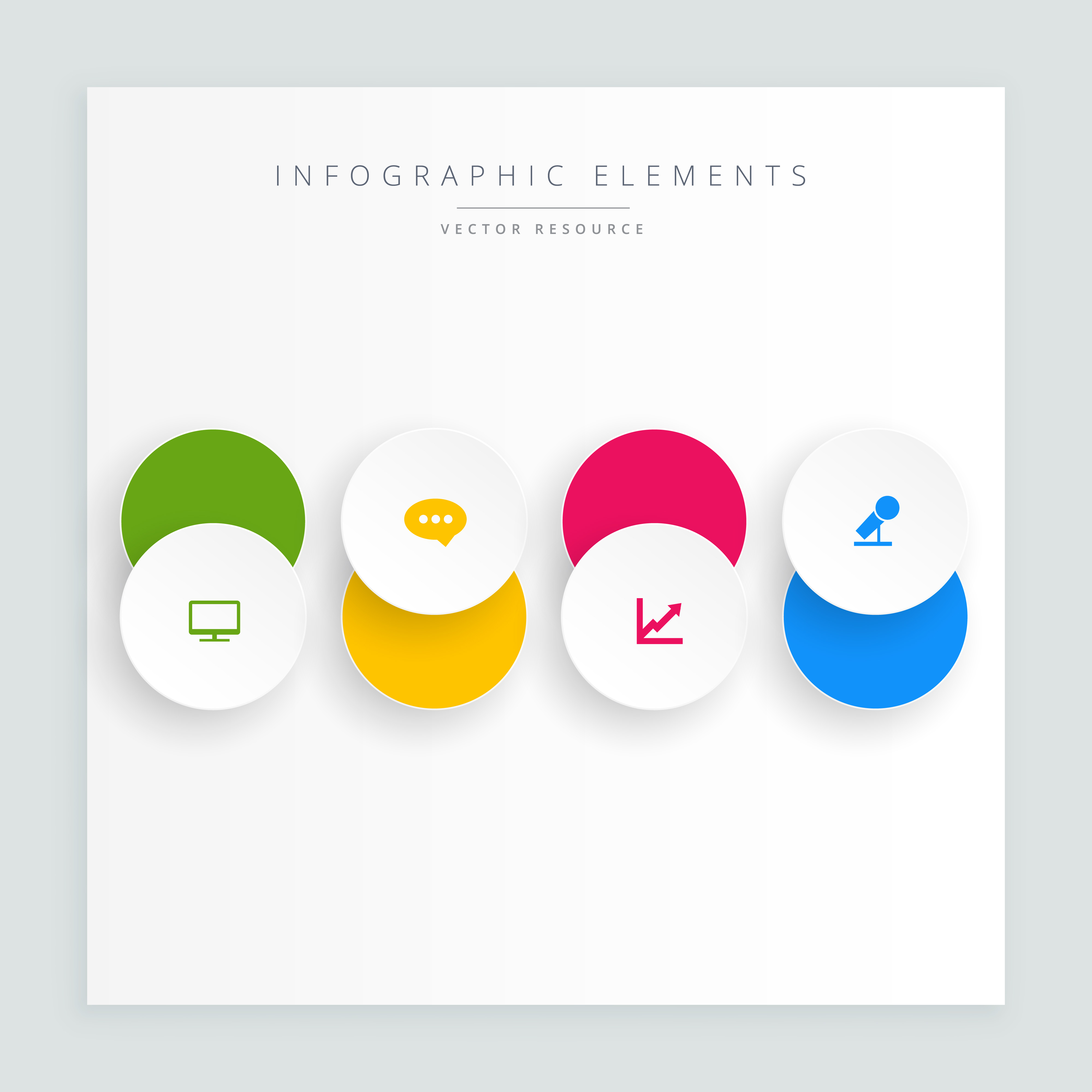 circles button with icon infograph