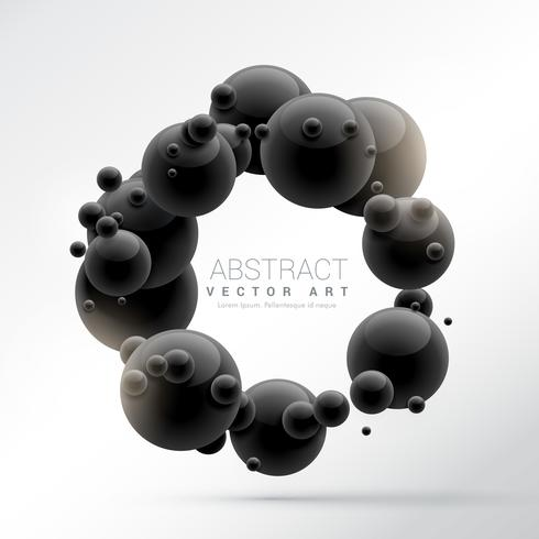 black molecules frame background in 3d