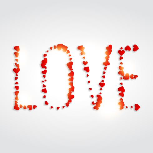 love written with hearts vector design illustration