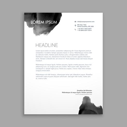 abstract black ink letterhead design template vector design illu
