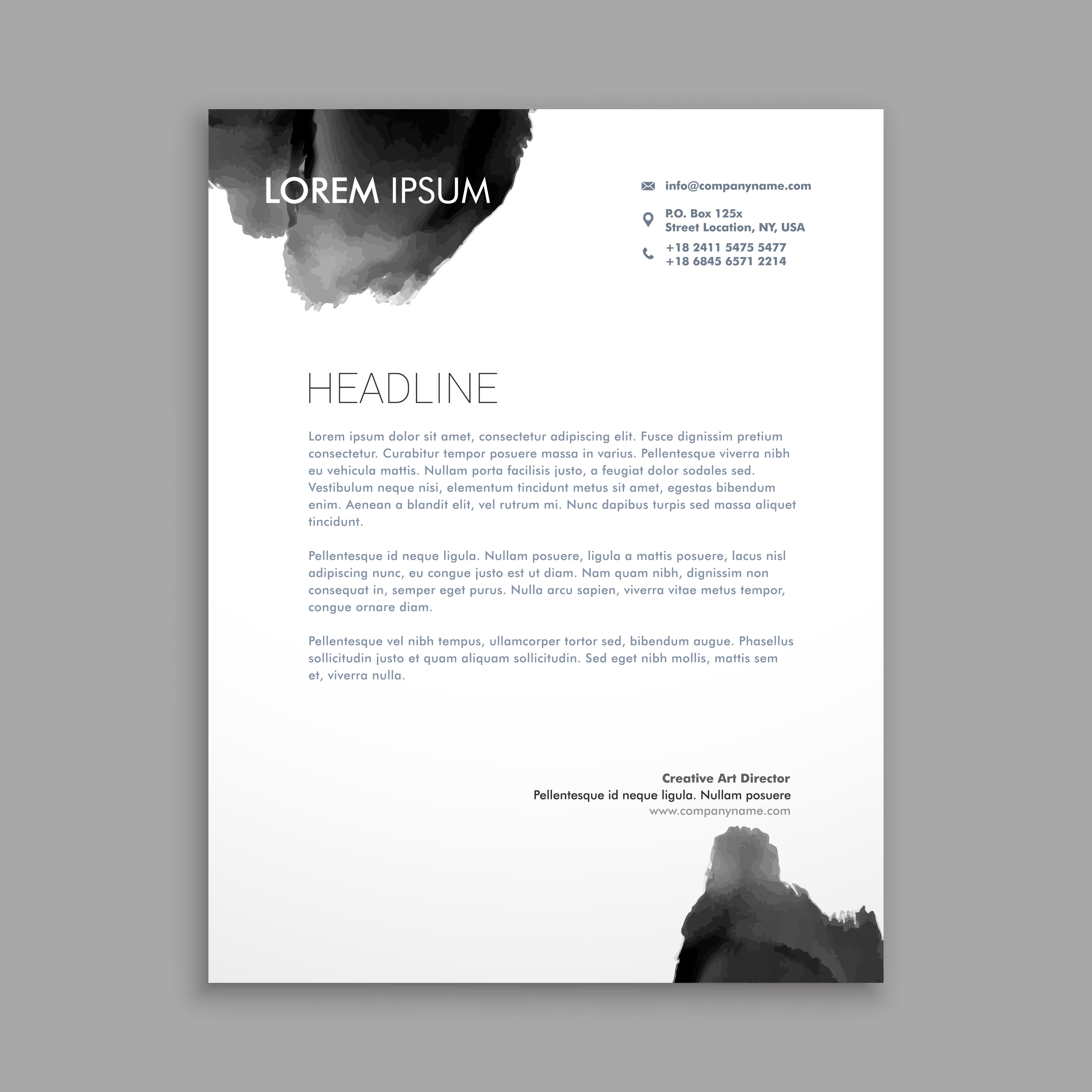 Abstract Black Ink Letterhead Design Template Vector