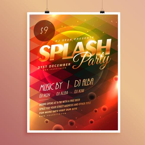 Colorful Splash Party Invitation Flyer Poster Template Download