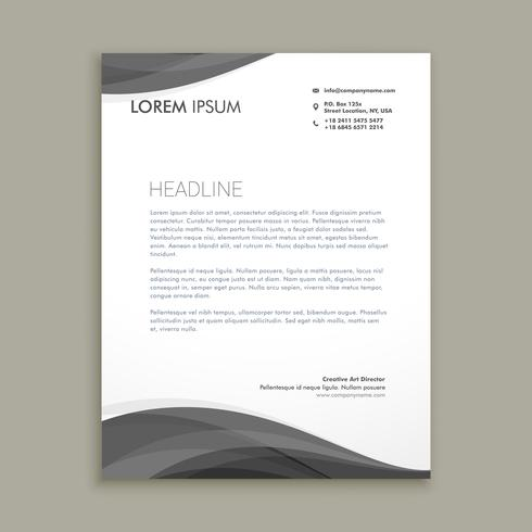 modern letterhead design with black wave template vector design