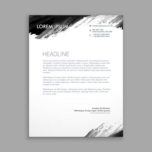 creative black ink letterhead template vector design illustrati