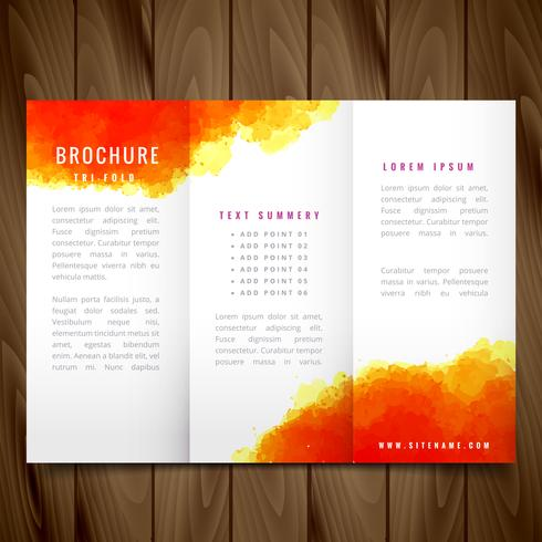 modern watercolor trifold brochure design illustration download