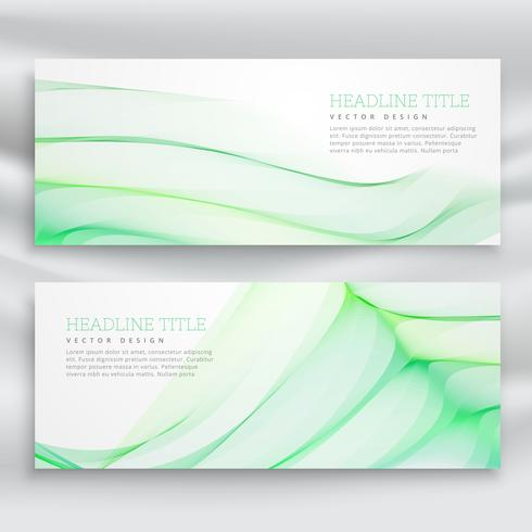 set of banners with wavy green design template