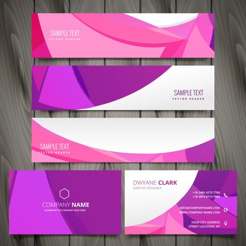 set of pink wave banners and business cards vector