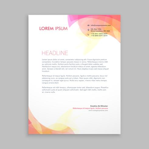 abstract soft color shapes letterhead  template vector design il