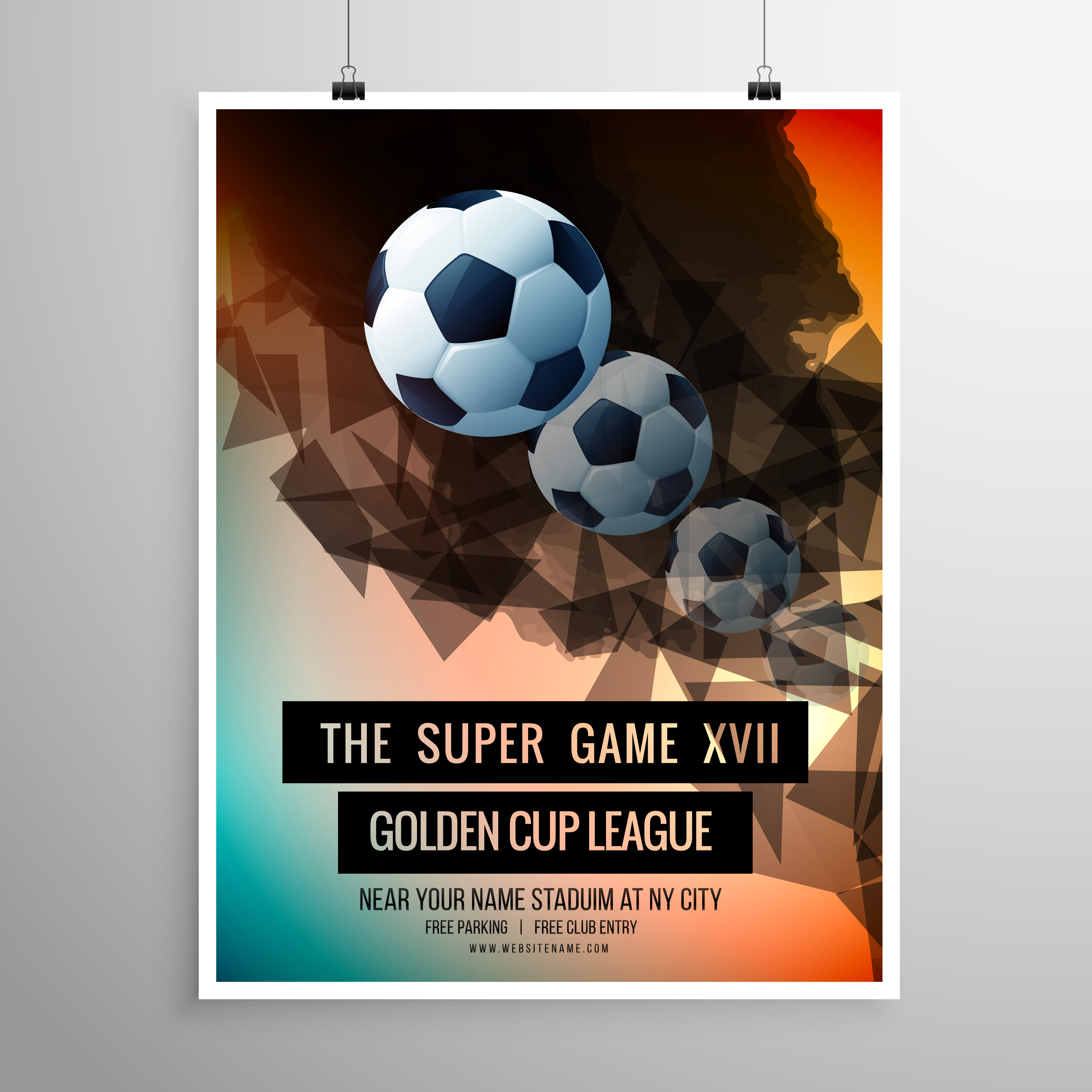 Abstract Football Soccer Game Flyer Template Download Free Vector