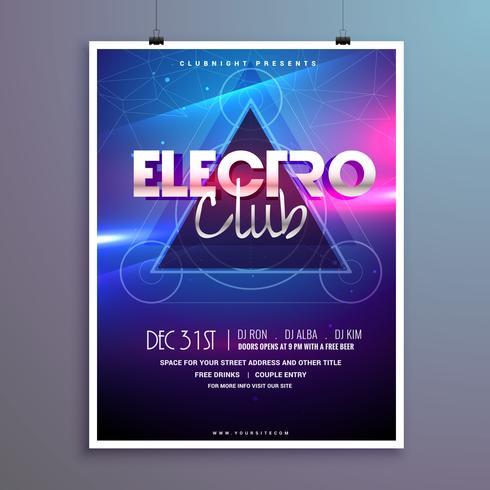 carte d'invitation flyer club musique parti avec effet de lumières brillantes