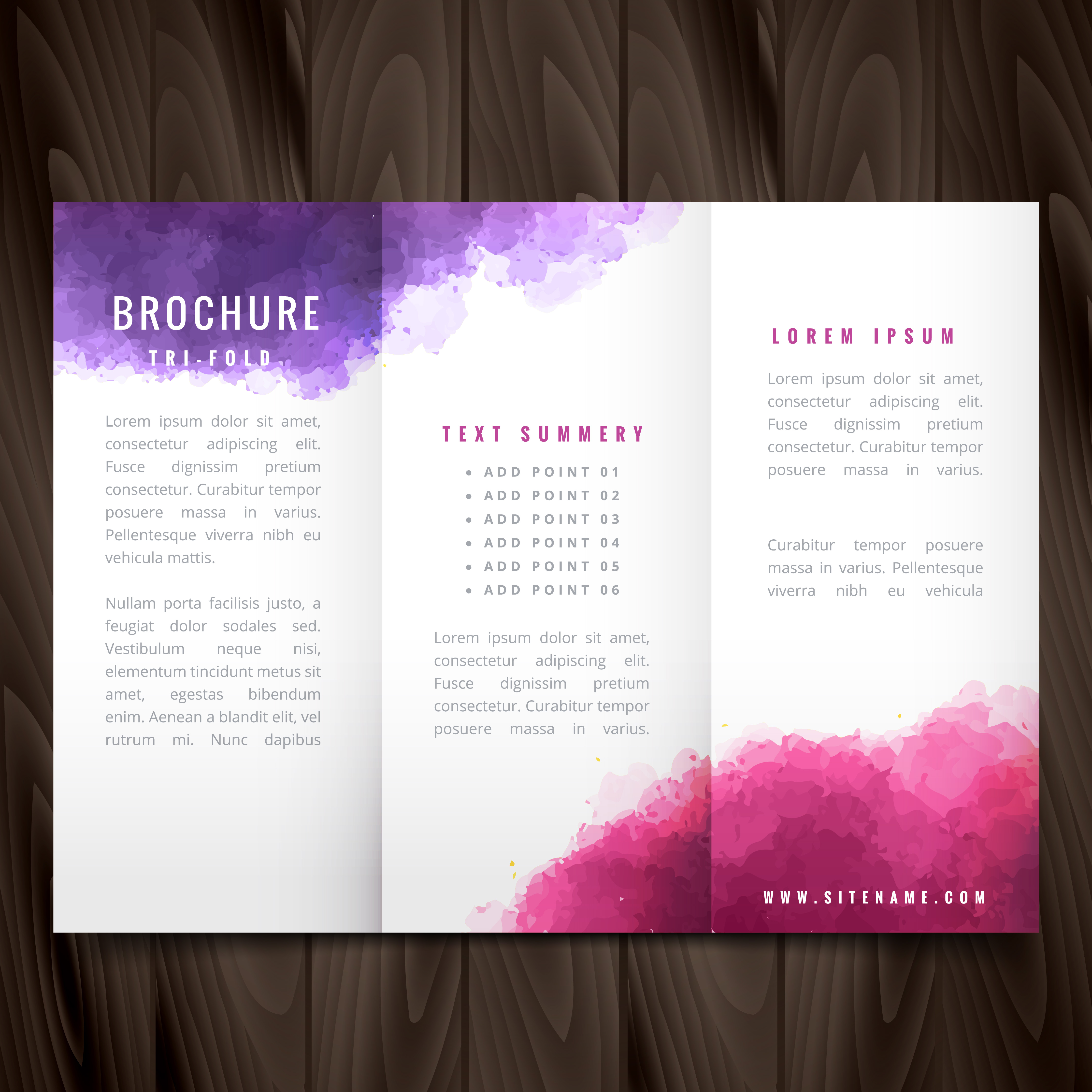 creative trifold brochure made with colorful ink