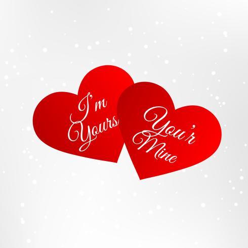 corações vermelhos com mensagem de amor vector design ilustração