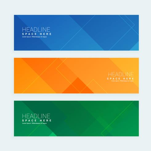 clean geometrical style minimal banners set with three different