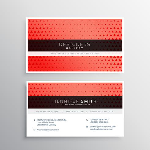 red pattern modern business card template