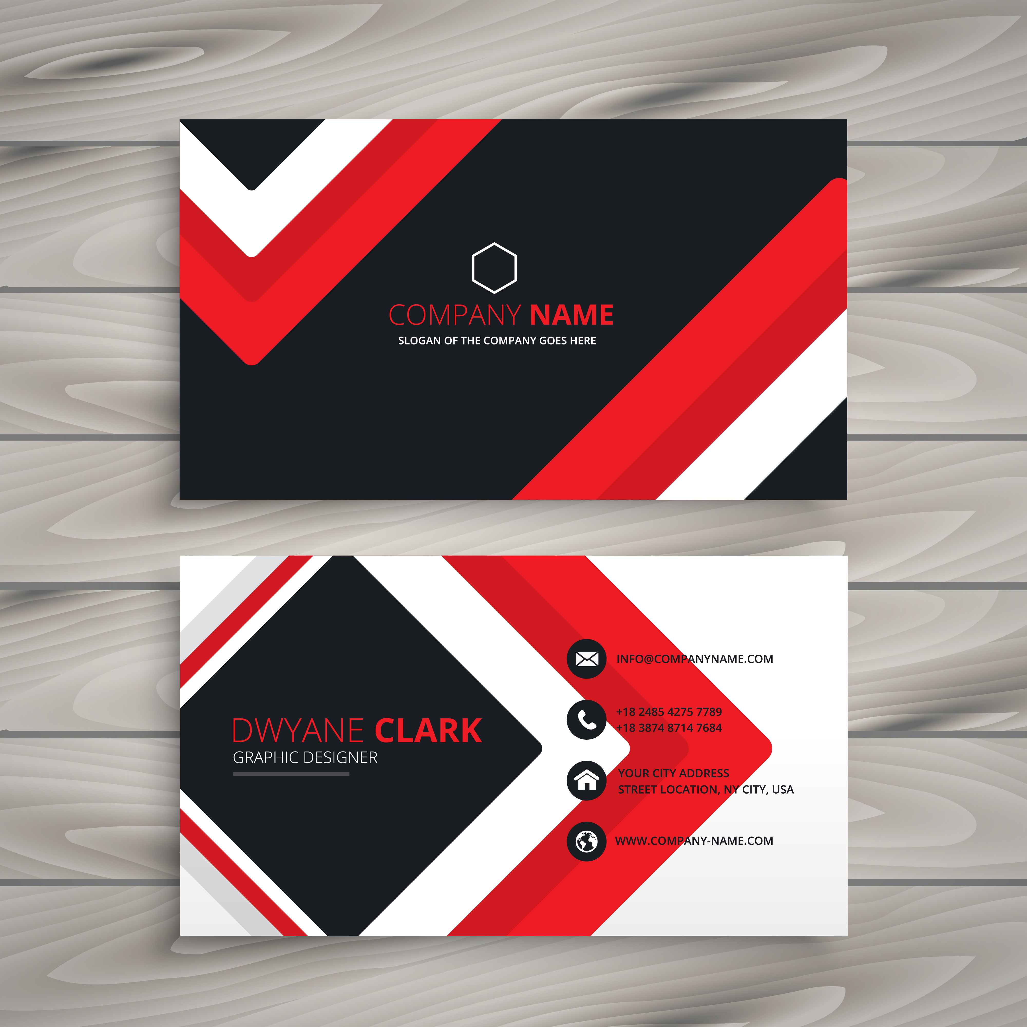 Blue Corporate Stationary Pack By Betty Design: Red Black Business Card Vector Design Illustration