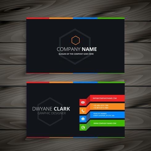 black dark business card template vector design illustration