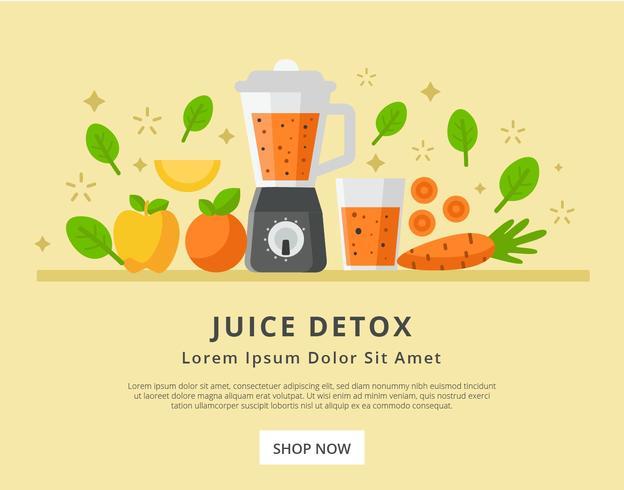 Detox-Saft im Landungs-Seiten-Design-Vektor