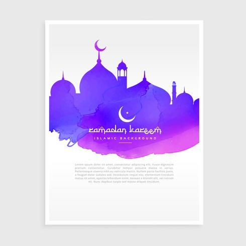 colorful ink style ramadan kareem flyer poster