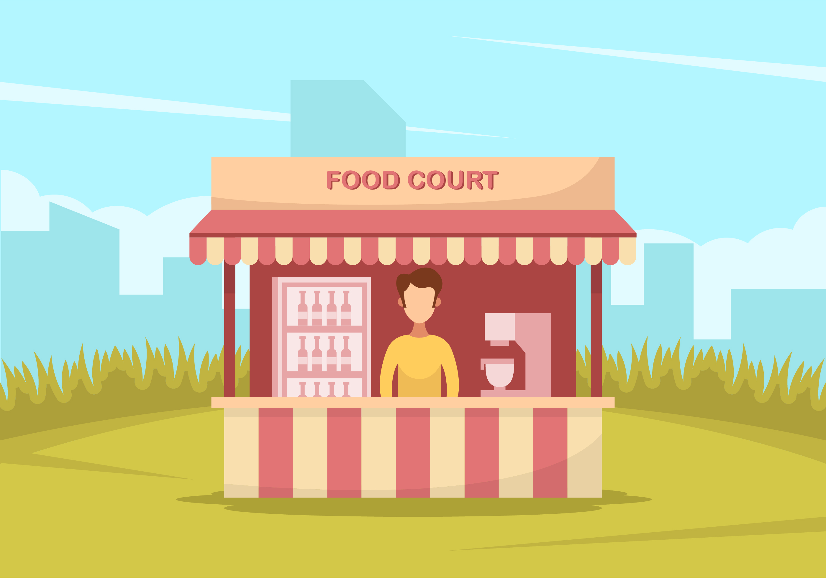 Exhibition Stall Design Vector Free Download : A man in red food court download free vector art stock