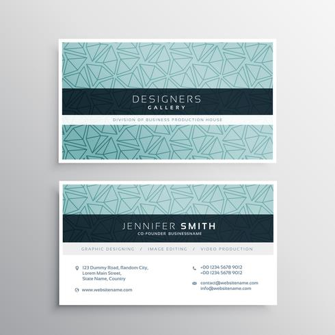 blue business card minimal template with abstract triangle patte
