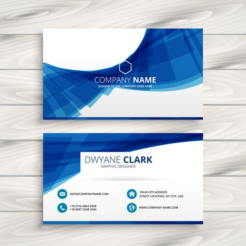 blue wave business card template vector design illustration