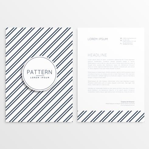 company brochure with diagonal lines pattern