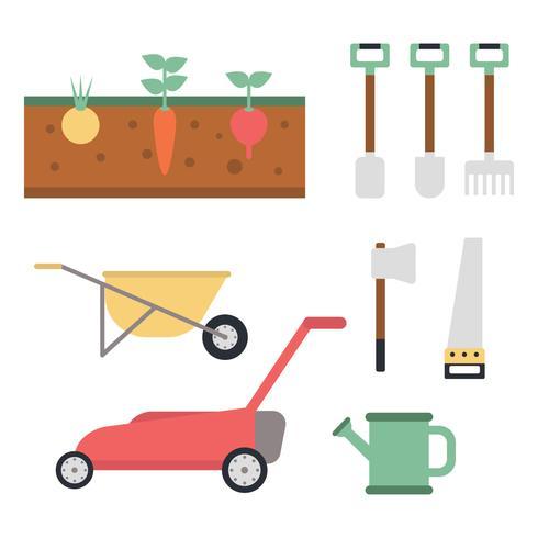 Färgglada verktyg för jordbruk