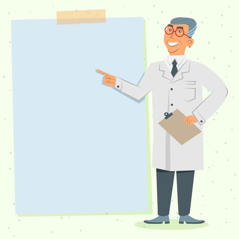 Man Doctor In White Uniform With A Blank Board For Your Text Illustration
