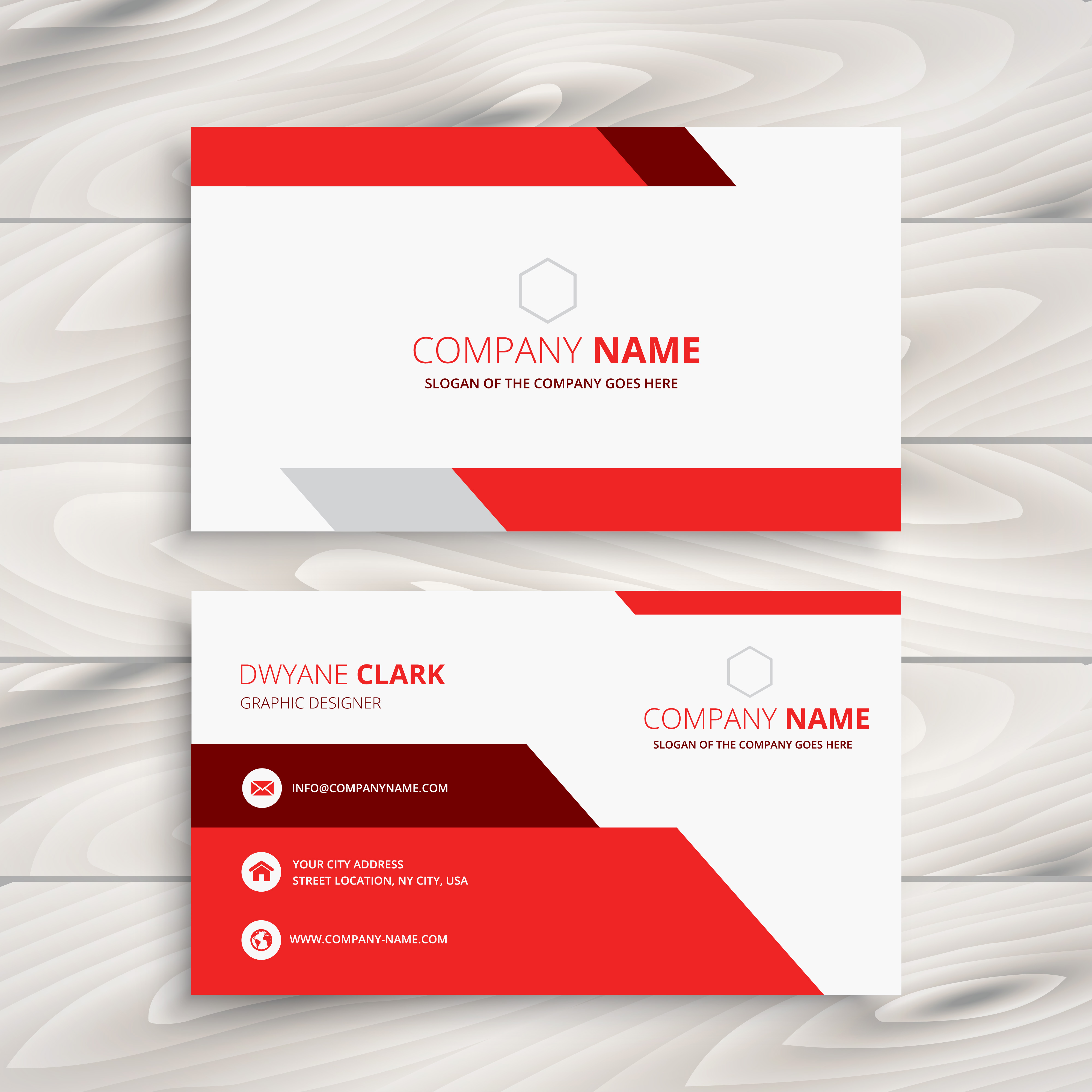 Free Business Card Design Templates: Red Modern Business Card Template Vector Design
