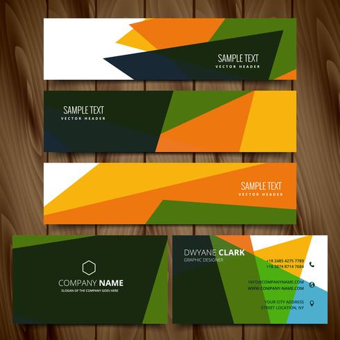 abstract colorful business style vector banners and cards