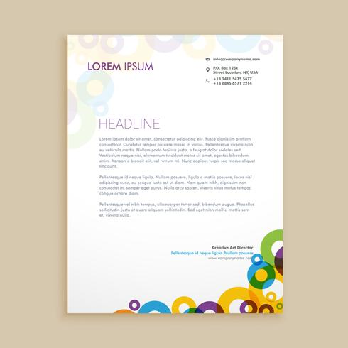 creative circle shapes letterhead  template vector design illust