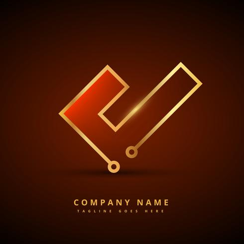 golden technology style symbol design illustration