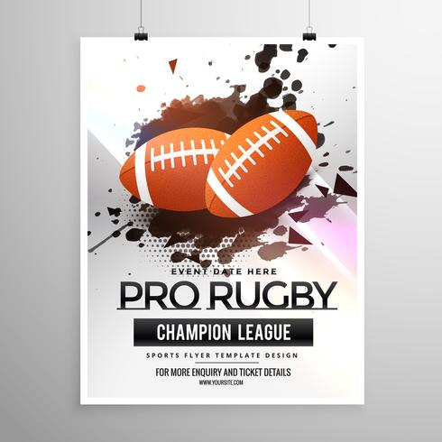 abstract rugby sports flyer design with grunge effect