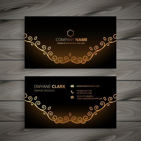 golden floral business card vector design illustration