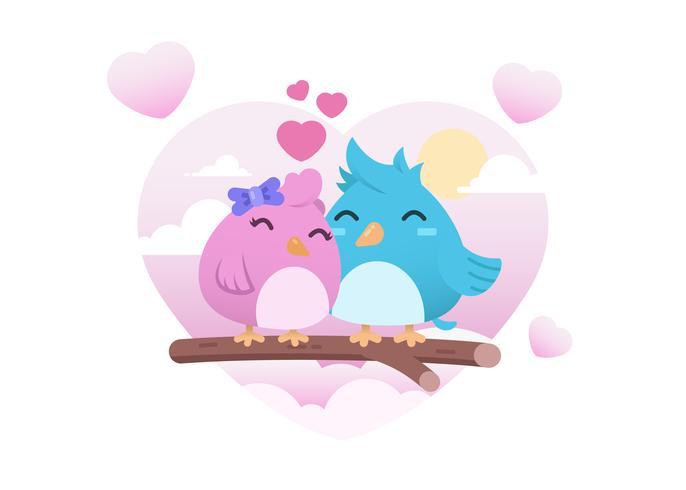 Två söta fågelar i kärlek