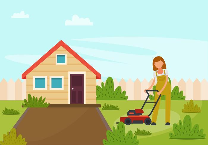 En flicka med gräsklippare