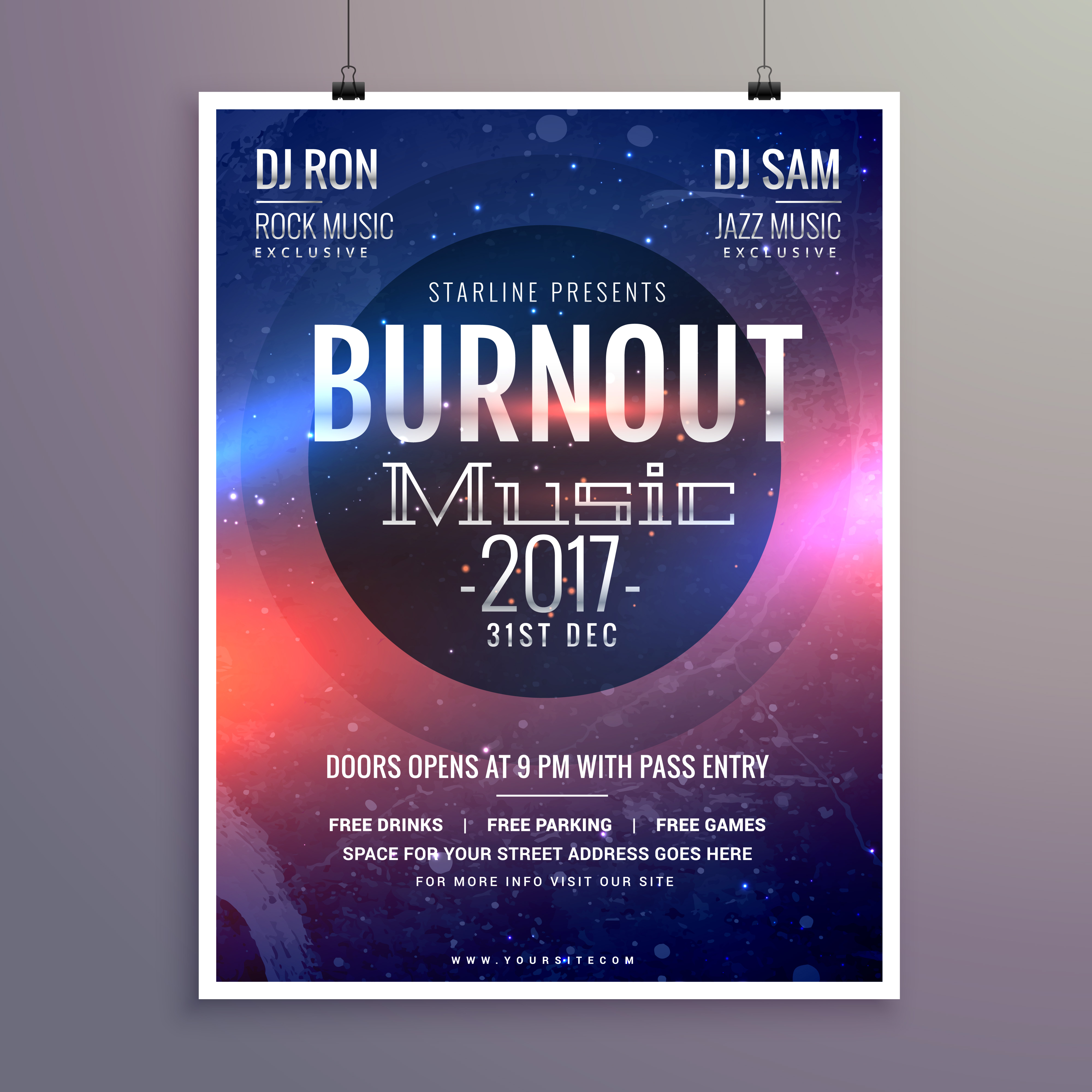 music flyer brochure poster template for your music event