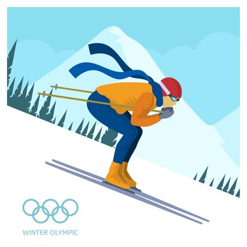 Flat Ski Jumping Winter Olympics Korea Vector Illustration