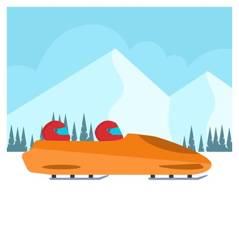 Flat Bobsleigh Winter Olympics Korea Vector Illustration
