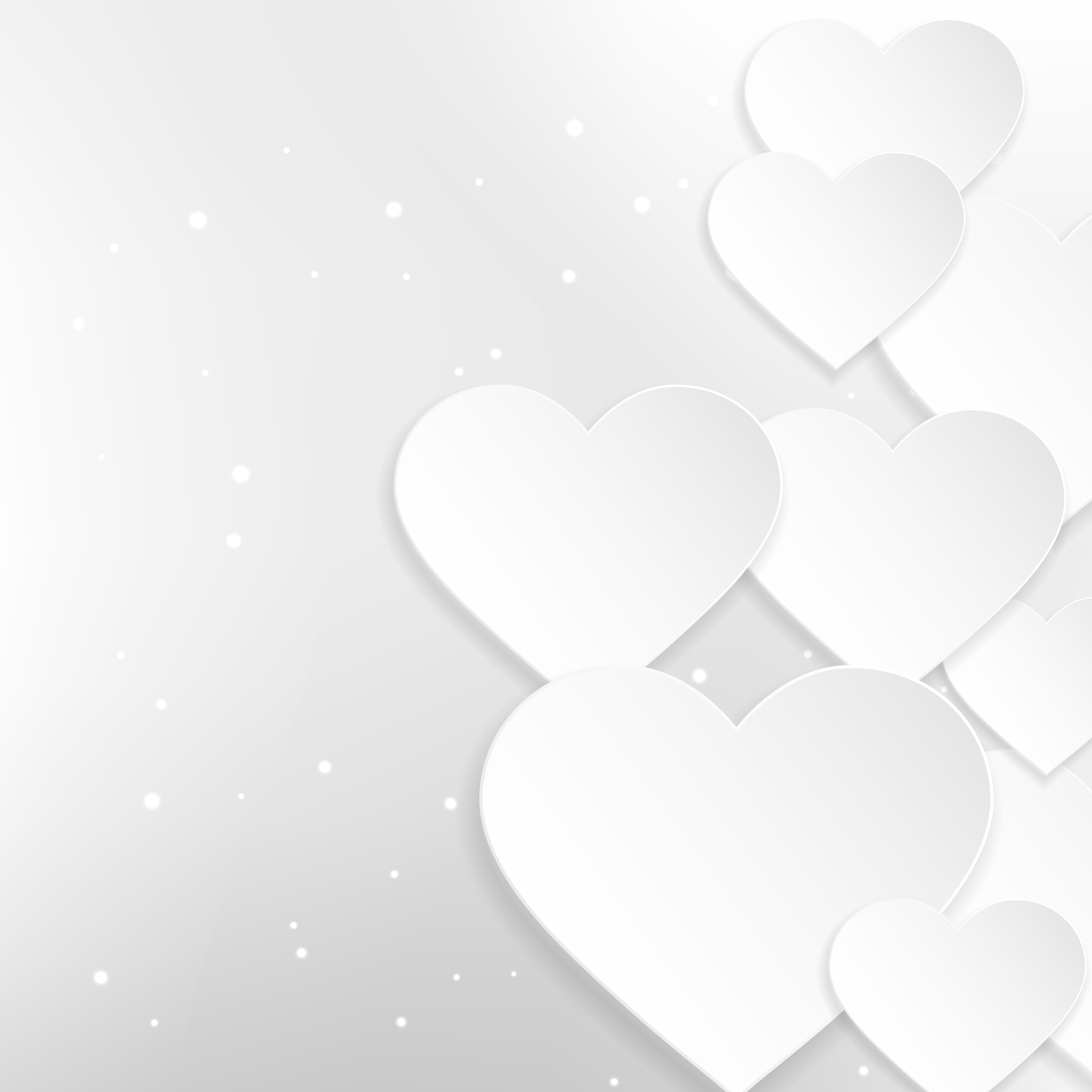 beautiful white hearts background vector design ...