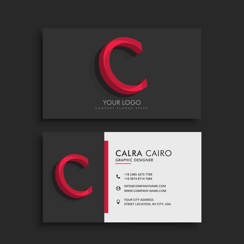 clean dark business card with letter C
