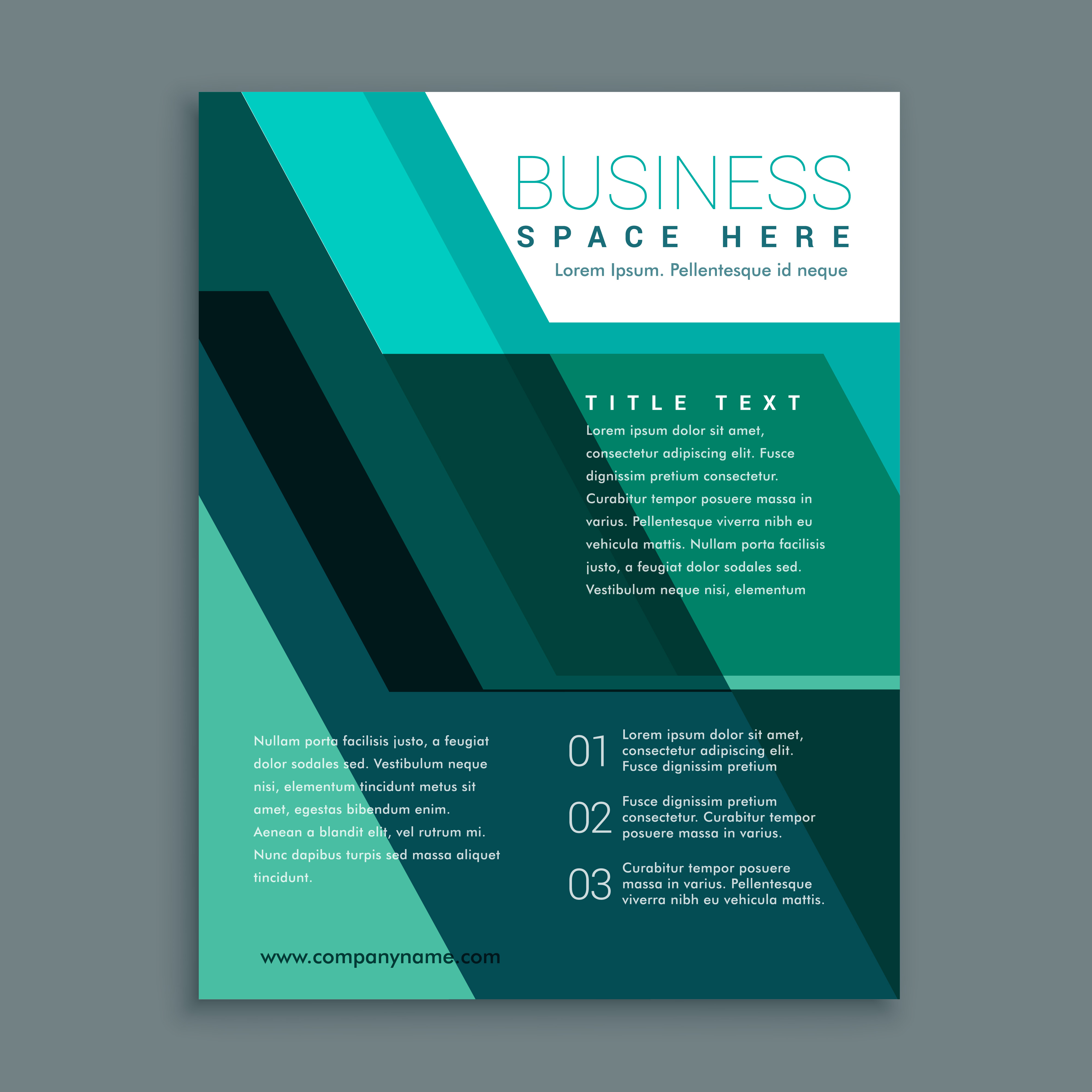 geometric business brochure design in turquoise color