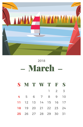 March 2018 Landscape Calendar - Download Free Vector Art, Stock Graphics & Images