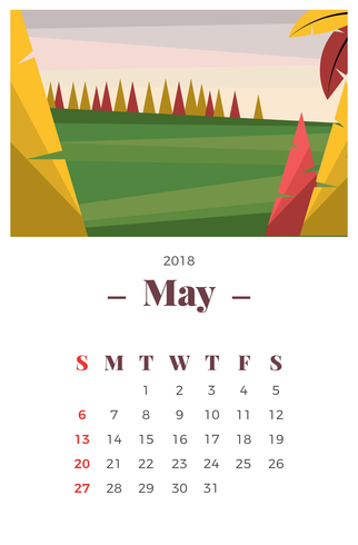 May 2018 Landscape Monthly Calendar
