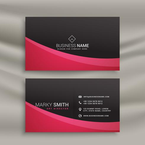dark business card design with wavy shape