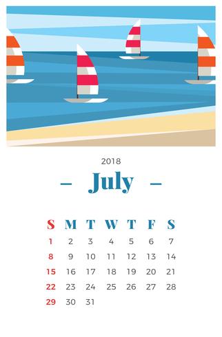 Luglio 2018 Paesaggio Calendario mensile