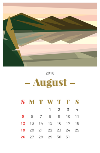August 2018 Landscape Monthly Calendar