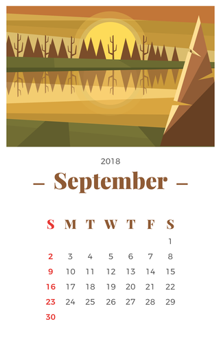 September 2018 Landscape Monthly Calendar